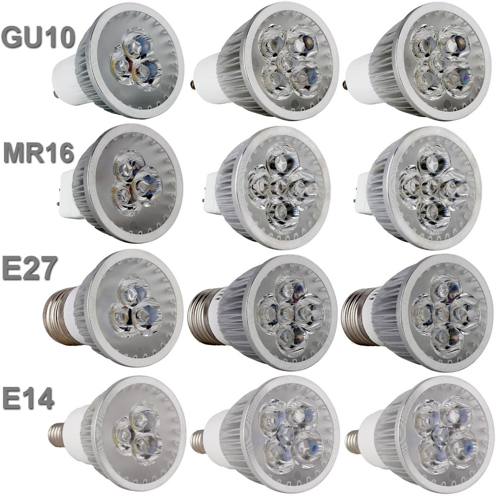 Led Bulb Light Spotlight GU10 E27 E14 3000K 4000K 6500k MR16 DC 12V 9W 12W 15W Replace Halogen Lamp AC 110 220V Energy Saving e27 4w 65 led 420 lumen 6500k white energy saving led light bulb 220v