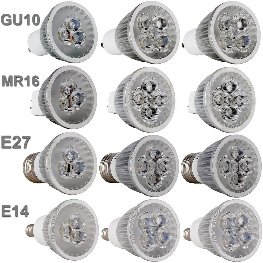 Led Bulb Light Spotlight GU10 E27 E14 3000K 4000K 6500k MR16 DC 12V 9W 12W 15W Replace Halogen Lamp AC 110 220V Energy Saving