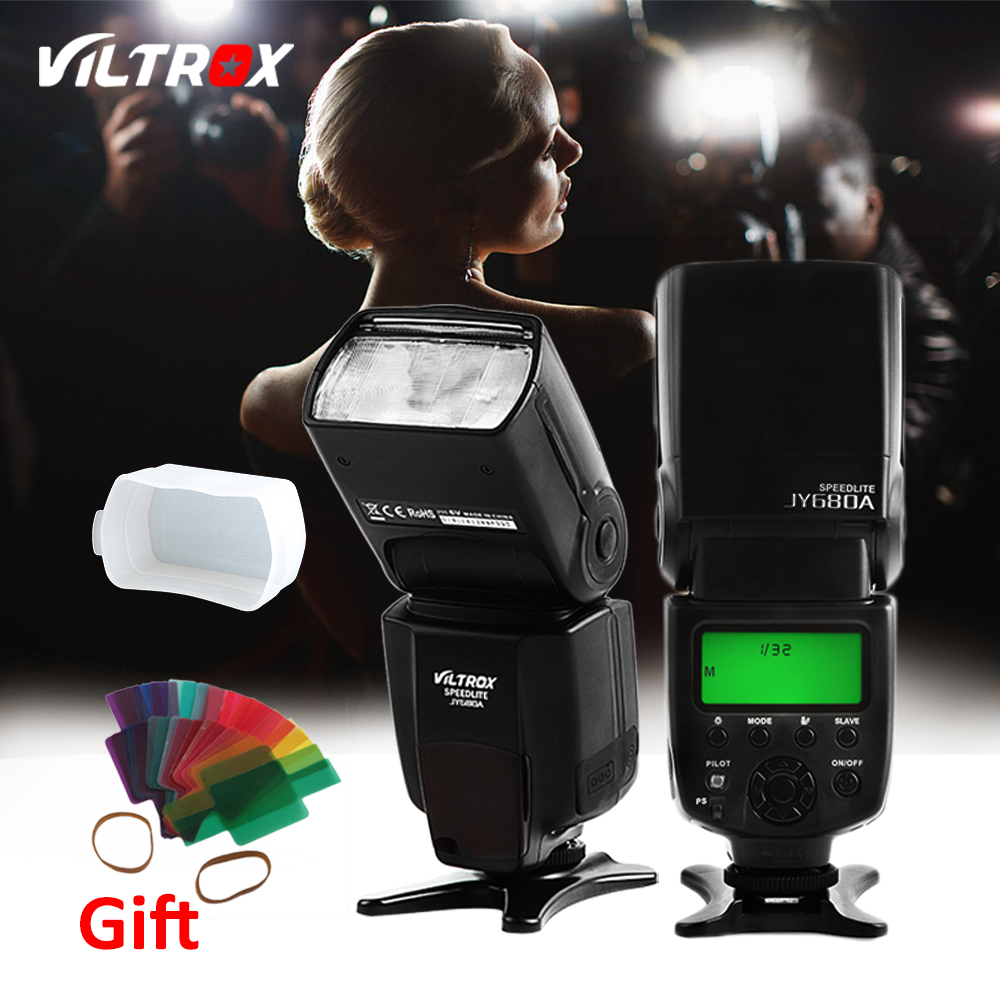 Viltrox JY-680A Flash Light Speedlite Lamp for Canon Nikon Pentax Olympus Cameras + Free Diffuser and 20 pcs Filter universal soft screen pop up flash diffuser for nikon canon pentax olympus camera soft diffuser plastic diffuser softer 10d 20d