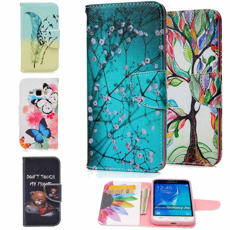 For Samsung Galaxy J1 2016 J120F SM-J120F J120 Phone Case Folio Flower Painting Animal Wallet Stand Flip PU Leather Cover Cases