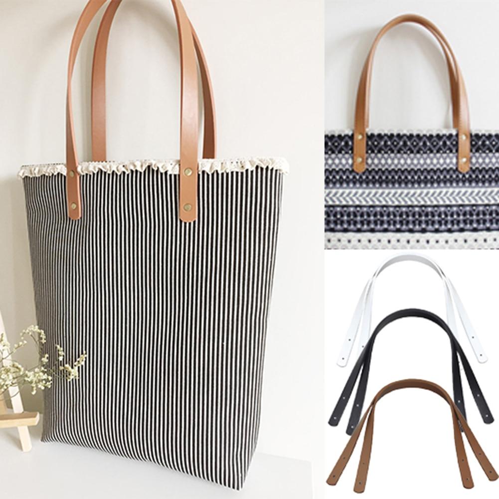 2Pcs/Pair 60cm PU leather Bag strap Shoulder Bag Handle Belt Band for women Handbag Handmade DIY Belt Strap For Bag Accessories