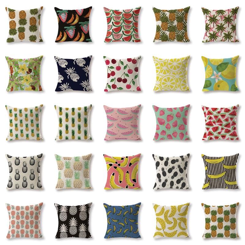 """18/""""Watercolor Print Pillow Cotton Linen Throw Case Sofa Cushion Cover Home Decor"""