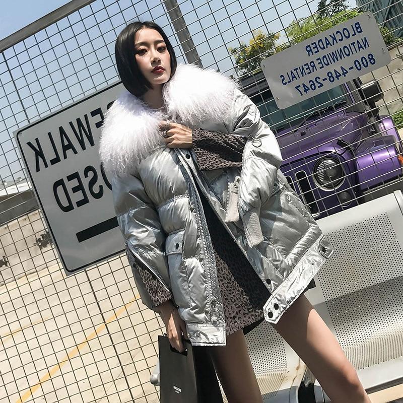 Women Down Jacket Winter 2019 White Duck Down Coats Sliver Puffer Parka Real Wool Collar Jackets Female Glossy Waterproof Jacket