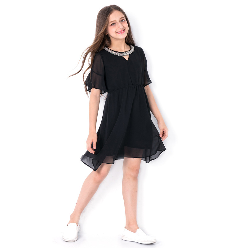 Elegant Summer Girls Black Chiffon Dress 6 8 10 11 12 13 14 years Sequined V-neck Flare Sleeve Dress Teenage Girls Outfit lace jacquard spliced chiffon bohemian v neck short sleeve dress for women
