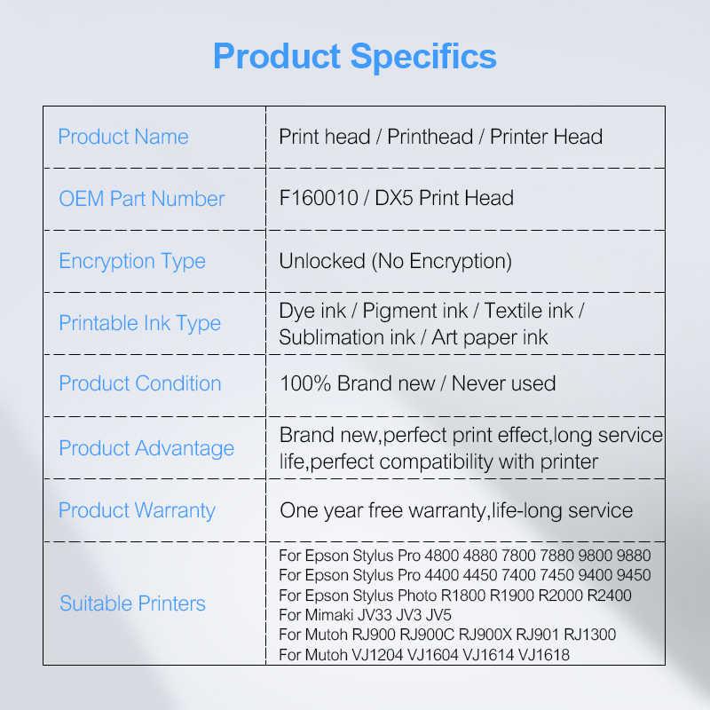 Baru F160010 Dibuka Printhead DX5 Print Head untuk EPSON 7800 7880 9800 9880 4400 4800 4880 9400 R1800 R1900 r2000 R2400