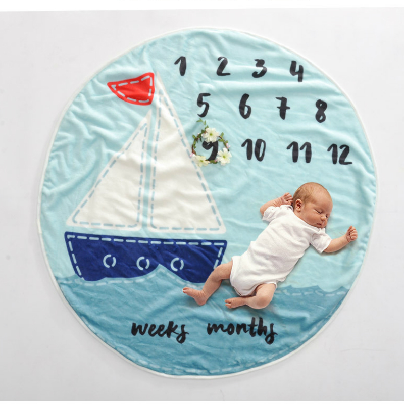 Newborn Baby Photography Props Accessories Infnat Milestone Blanket Photo Prop Backdrop Cloth Calendar Bebe Boy Girl Circular
