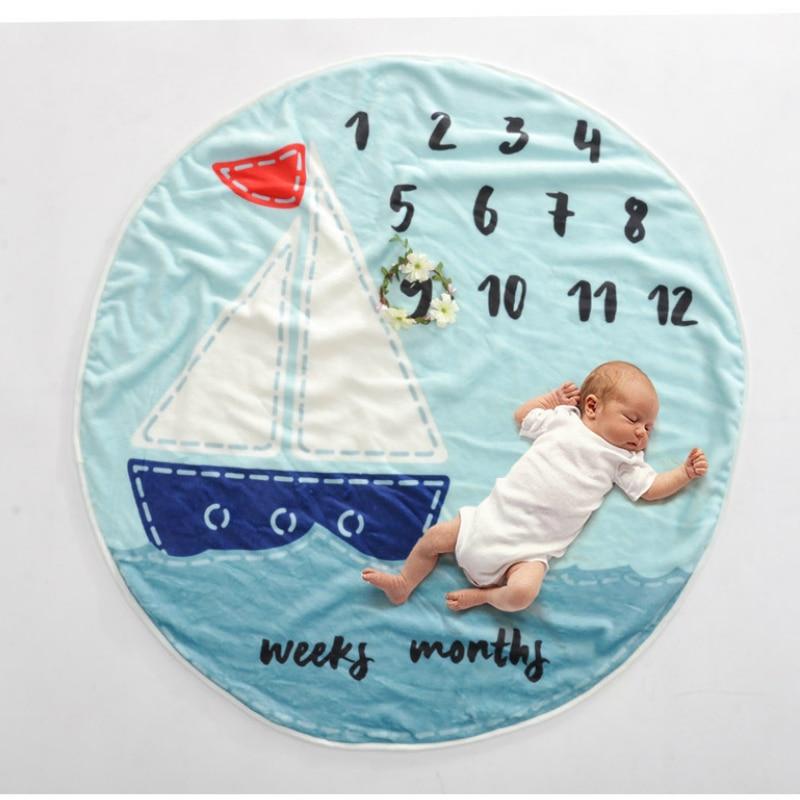 Newborn Baby Photography Props Accessories Infnat Milestone Blanket Photo Prop Backdrop Cloth Calendar Bebe Boy Girl Circular
