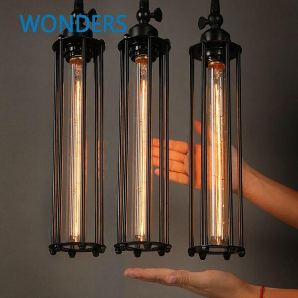 Us 25 46 15 Off Vintage Pendant Lights Long Edison Bulb E27 Iron Cage Shade Loft Style Single Minimalist Plating Black Metal Lamp In