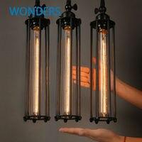 Vintage Pendant Lights Long edison bulb E27 Iron cage shade Loft style Single minimalist plating Black metal Pendant lamp