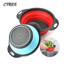 CTREE 2pcs Fruit Vegetable Washing Basket Foldable Silicone Colander Strainer Collapsible Drainer With Handle Kitchen Tool C707