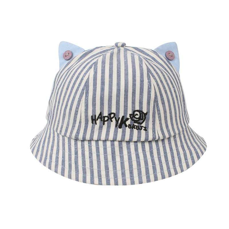 4b20335c9ba ... Cute Striped Baby Hat Cat Panama Baby Girls Cap Cotton Kids Sun Cap  With Ears Spring ...