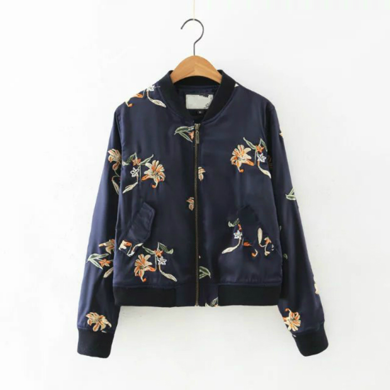 LYFZOUS Floral Embroidery Bomber   Jacket   Stand Collar Blue   Basic     Jackets   Loose Slim Casual Short Coats For Women Autumn Tops