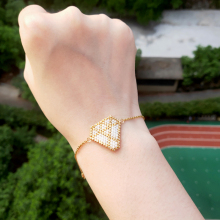 FAIRYWOO Gold Jewelry Geometric Pendant Bracelet Stainless Steel Chain Woman Fashion Trendy Miyuki Beaded Handmade Friendship