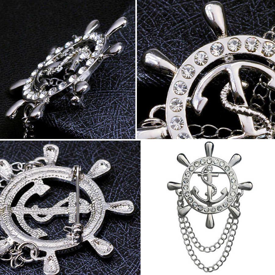 Sheegior Indah Jangkar Lencana Kemudi Kerah Bros untuk Wanita Emas Perak Rumbai Rantai Bros Pria Kerah Pin OL Fashion Perhiasan