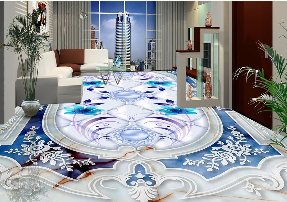 Custom wallpaper vinyl 3d floor tiles living room for Living room 3d tiles