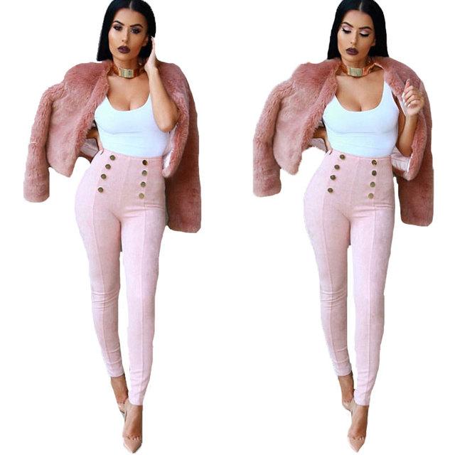 Cintura alta Das Mulheres Calças de Brim 2016 Outono Camurça Casuais Calças Das Senhoras Trabalho Elegante Silm Calças Compridas Calças Skinny Lápis Apertado