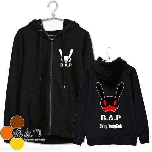 Kpop bap b. a. p nom du membre et images de lapin personnel impression veste à glissière pour hommes femmes fans capuche de soutien