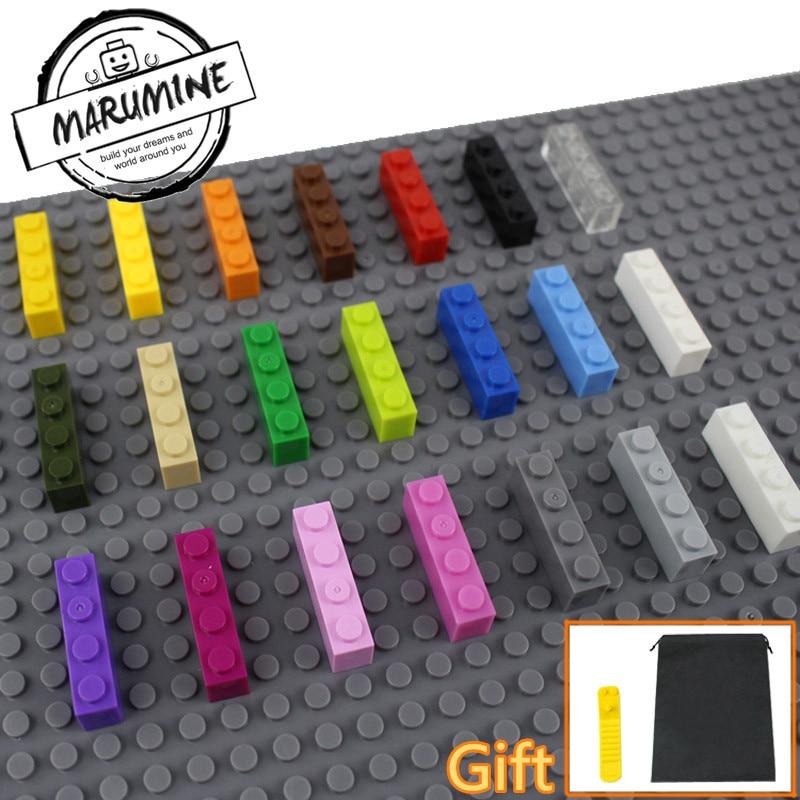 Marumine кирпичи 1x4 города конструктор для детей Moc строительные блоки DIY образования Игрушечные лошадки 100 шт./лот для продажи