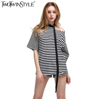 TWOTWINSTYLE Striped Irregular T Shirt Female Off Shoulder Ribbon Short Sleeve Pullover T Shirts Spring Summer
