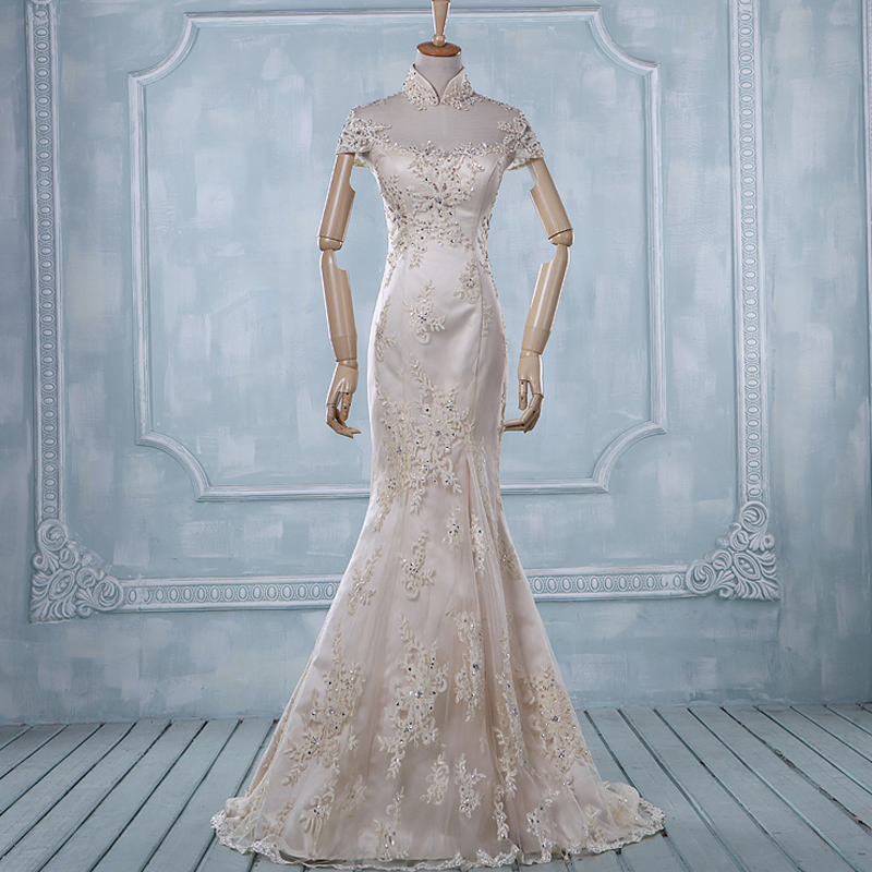 see through back 2016 long lace mermaid wedding dress mandarin ...