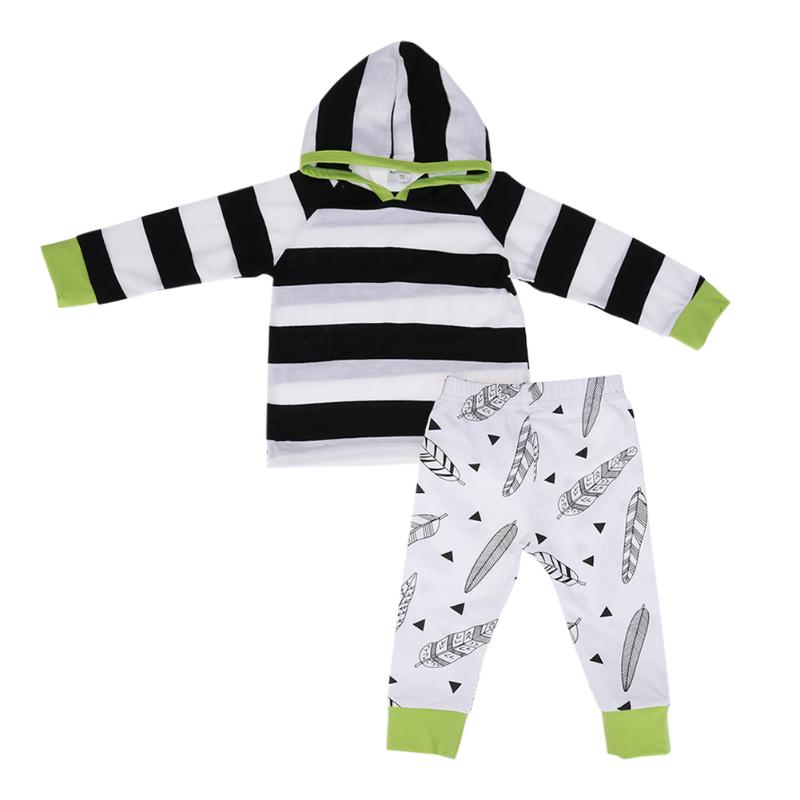 2pcs/Set Baby Clothing Set Toddler Boys Girls Feather Printed Long Sleeve Hooded Top+Pants Infant Casual Outfits Set Boy Clothes