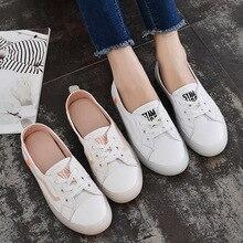 Купить с кэшбэком 2019 new spring shoes women's leather small whiteleisure Korean travel pregnant student board flat shoes women Yasilaiya Casual