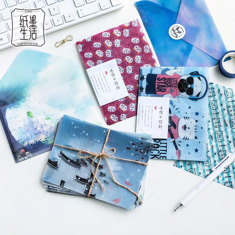 3 Pcs/pack Kawaii Animal Cat Dog Translucent Envelope Message Card Letter Stationary Storage Paper Gift