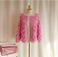 2019 Winter Pink Ball Cardigans Women Lantern Sleeve Knitted Loose Sweaters Oversized Open Stitch Ladies Outerwear Poncho Women