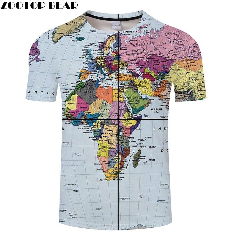 Color World Map t shirt Men t-shirt Leisure Top 3D Breathable Streatwear Brand Short Shirts Drop Ship Quick Dry Tees ZOOTOPBEAR