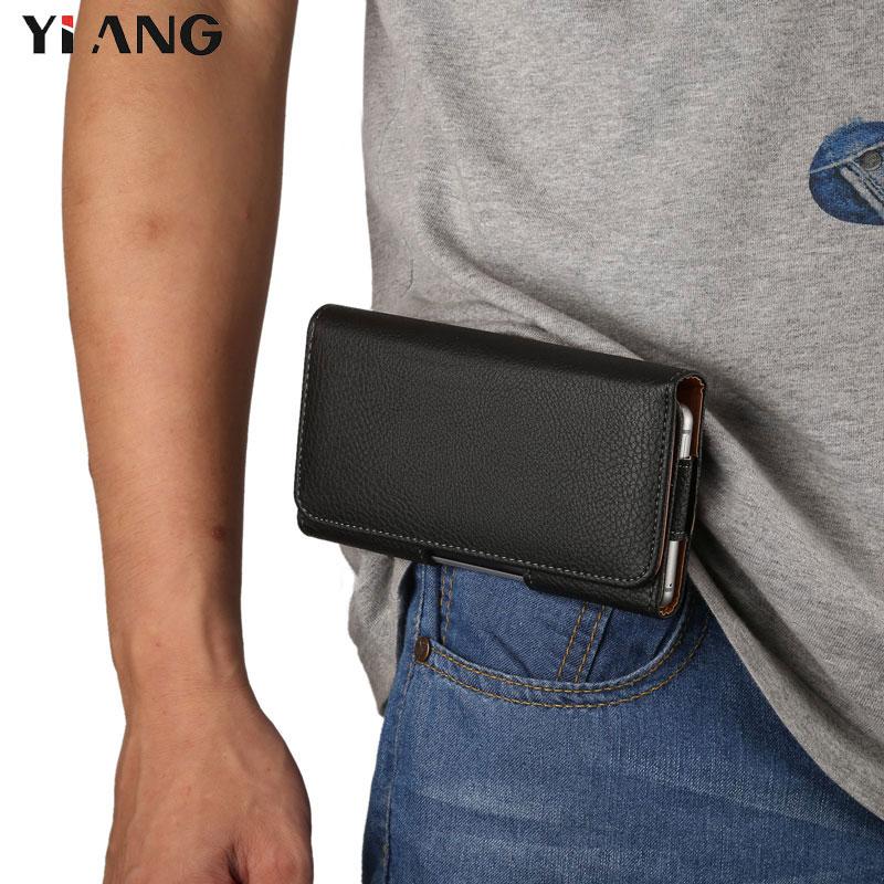 YIANG Brand 3.5~6.4 Inch Men Waist Packs Phone Pouch Bags Hook Loop Belt Clip Case Waist Bag Litchi Grain Mobile Phone Bags