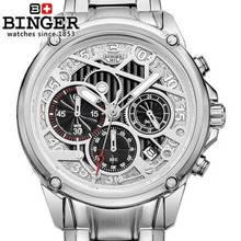 Marca Binger Reloj Despertador Cronómetro Chrono Hombres de Acero Lleno Analógico Digital Reloj de Los Hombres Relojes de Cuarzo Militar Deportes Reloj de Pulsera