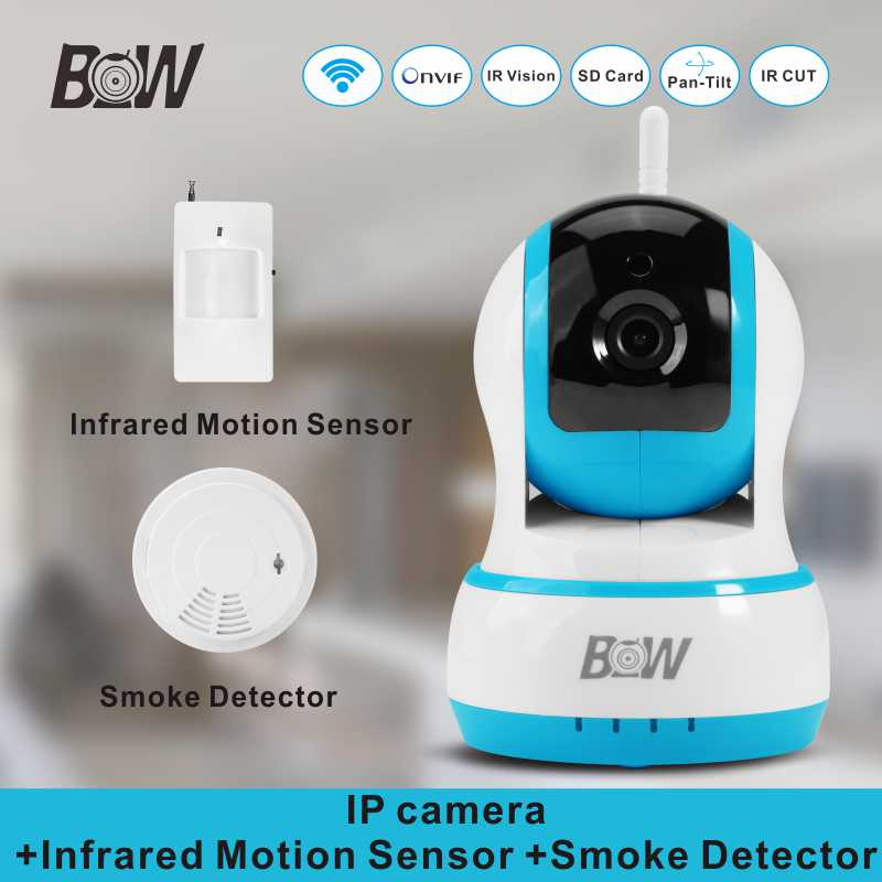Video Surveillance Camera IP Wireless + Infrared Motion Sensor Smoke Detector Security Wifi Camera Alarm System BWIPC13B video surveillance security camera wireless door sensor infrared motion sensor gas detector monitor ir led wifi ip camera bw13b
