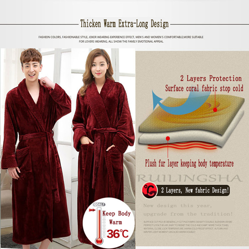 On Sale Super Soft Extra Long Men Women Warm Coral Flannel Bath Robe ...