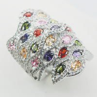 Garnet Simulated Emerald Morganite Purple Crystal Zircon Pink Crystal Zircon 925 Sterling Silver Ring Size 6 7 8 9 10 11 A03