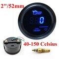 """2 """"52mm Car Motor Digital LED DEL Metro DEL Calibrador de Temperatura de Aceite Negro Azul LED"""