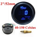 "2 ""52mm Oil Temp Medidor de Temperatura Medidor de LED Preto Digital de Motor Do Carro LED Azul"