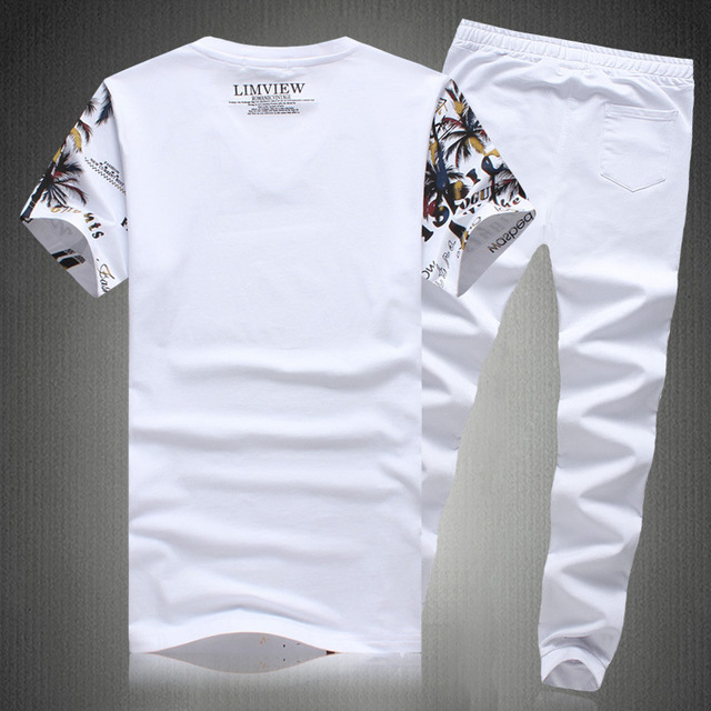 2019 New Summer Beach Shorts Sets Men Casual Coconut Island Printing Suits Mens Clothing Suit Male Sets T Shirt +Pants 5XL 2