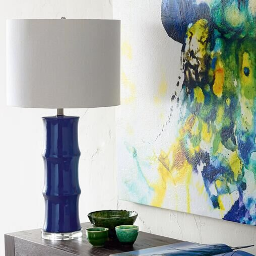 American blue ceramic table lamp classical bedroom bedside restaurant Chinese modern tab ...