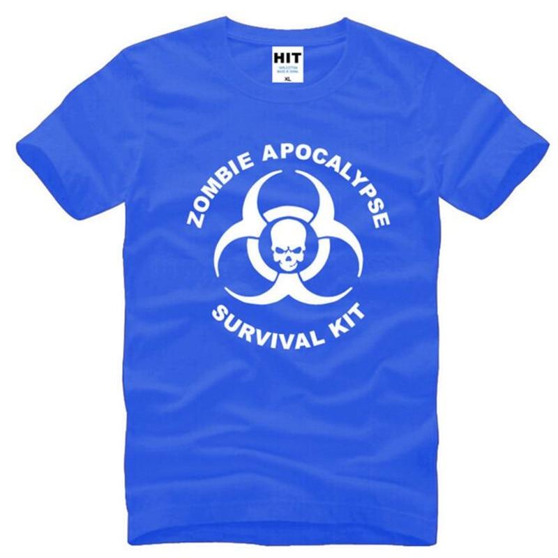 Zombie Apocalypse Survival Kit Skull Printed T Shirts Men Summer Short Sleeve O-Neck Cotton Men's T-Shirt Movie Fans Men Top Tee