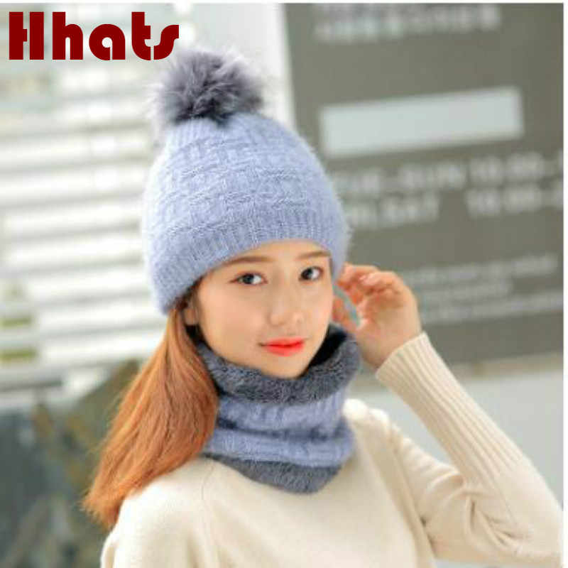 a62192955e9 Which in shower woman faux fur pompom thick warm winter hat scarf set lady fleece  lining