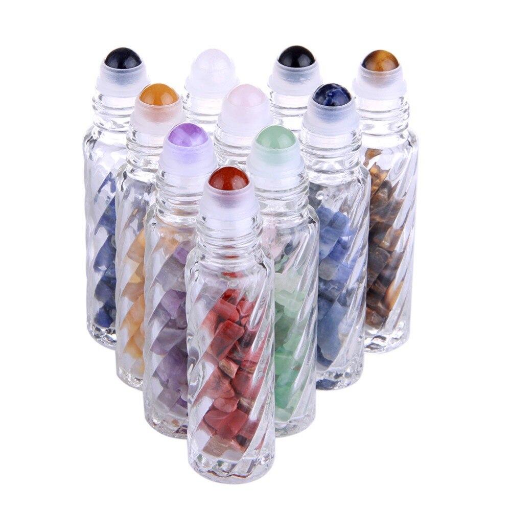 10 pcs Naturel Chakra Pierres Précieuses Roller Ball Huile Essentielle Bouteilles En Verre Transparent 10 ml Guérison Cristal Puces À L'intérieur