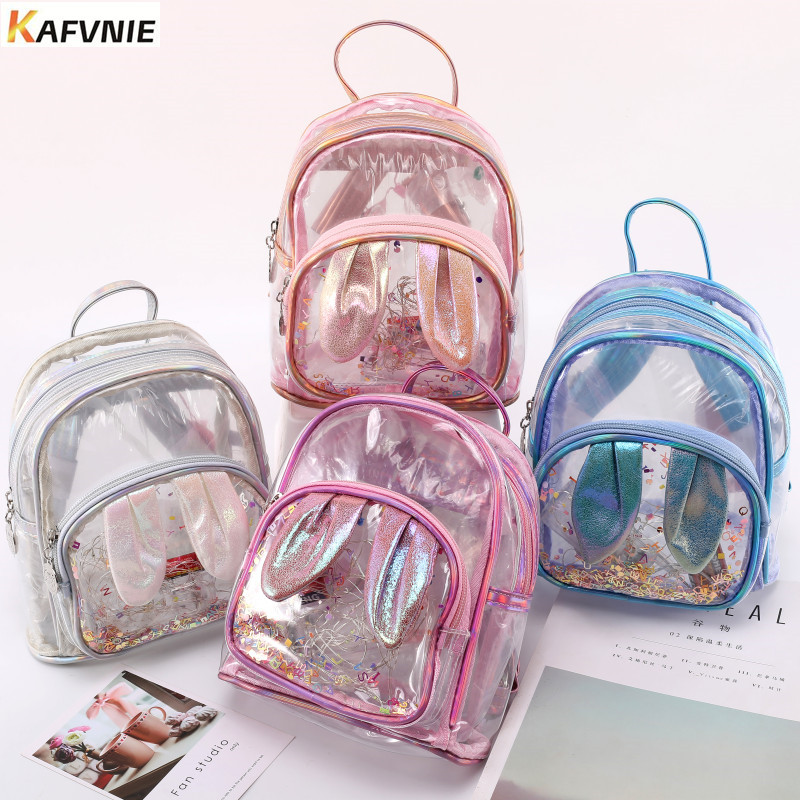 KAFVNIE Backpack Teenagers Shiny Mini Shoulder-Bags Pink Children PVC for Change-Color