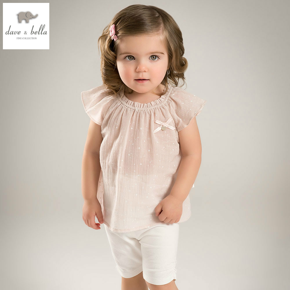 DB5020 dave bella summer baby girls clothing sets children lovely sets toddle cloth kids sets baby children sets fancy clothes