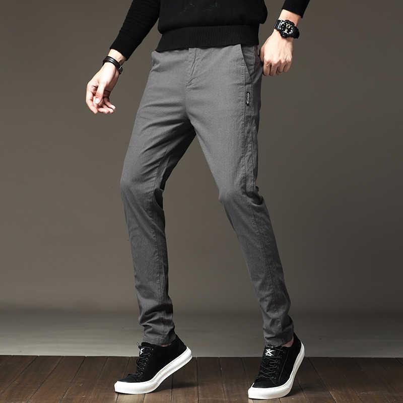 ダークグレー男性のパンツすべて一致スリムフィット紳士フォーマルパンツ男性カジュアルシンプルなビジネスズボン男性服 2019 28-38
