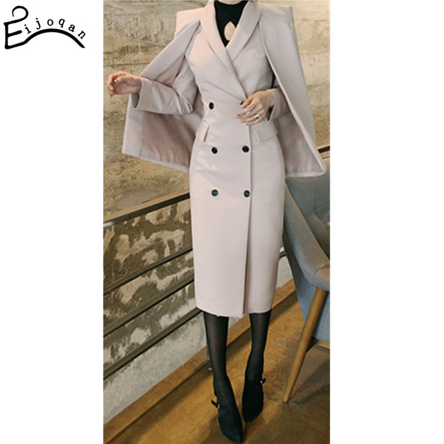 Европа и Соединенные Штаты 2017 Для женщин шерстяные смеси стильный Пальто для будущих мам двубортный костюм накидкой дамы тонкий Тренч c264