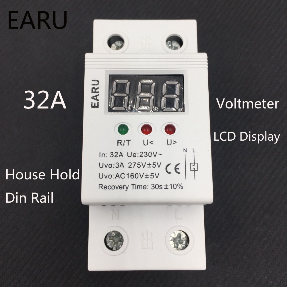 1 pc 32A 220V Self Recovery Automatic Reconnect Over & Under Voltage Protector Lightening Protection Relay LCD Voltmeter Monitor1 pc 32A 220V Self Recovery Automatic Reconnect Over & Under Voltage Protector Lightening Protection Relay LCD Voltmeter Monitor