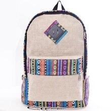 Estilo étnico Causales de la Lona Mochilas para Adolescentes Niñas Rayas Patchwork Mochila Bolsa de Ordenador Portátil de Viaje Bolsa de La Escuela bolsas mochila