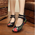 summer Colorful peacock  Women Shoes Old Peking Mary Jane Flat Heel Denim Flats with Soft Sole Women Dance Casual Shoes