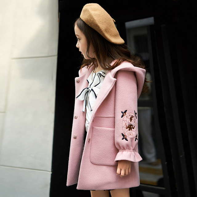 2019 Autumn Winter Girls Woolen Coat Pink Red Flores Design Petal Sleeves Long Jacket for Kids Age 4 6 8 10 11 12 Years old 1