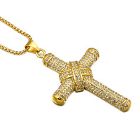 HIP Hop Gold Plated Stainless Steel 5 Row Iced Out Crystal Bow Cross Pendants Necklaces For